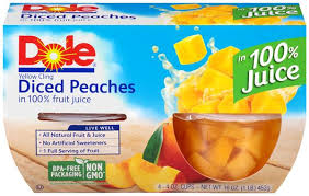 Dole Diced Peaches Fruit Cups 4 ct