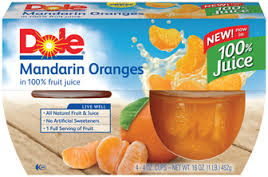 Dole Mandarin Oranges Fruit Cups 4 ct